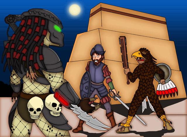 File:Predator vs azteca warrior vs conquistador by mangudai 79-d5uz5ok.jpg