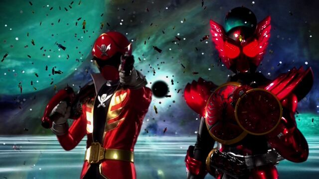 File:GokaiRed + Kamen Rider OOO.jpg