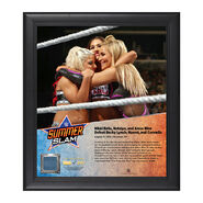 Nikki Bella, Alexa Bliss, Natalya SummerSlam 2016 15 x 17 Framed Plaque w Ring Canvas