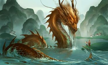 A-japanese-dragon-rises-fromt-he-river-to-greet-a-father-and-child-in-this-fantasy-painting-by-Sandara