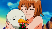 Elie's happiness when she see Plue is okay