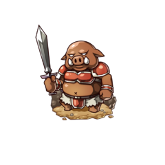 An Orc soldier with a sword in the mobile game