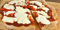 Grilled Roasted Pepper, Red Onion and Mozzarella Pizzas
