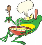 File:2242 picture of a frog in chefs gear mixing a recipe.jpg