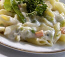 Baked Pasta in White Sauce with Meat Stuffing