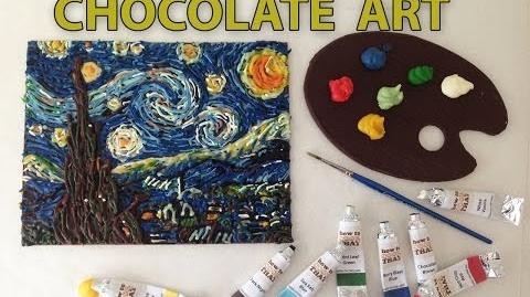 VAN GOGH Starry night in CHOCOLATE paint Speed Painting HOW TO COOK THAT Ann Reardon