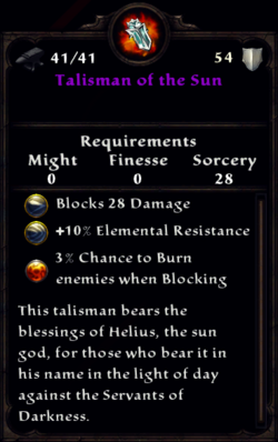 Talisman of the Sun Inventory