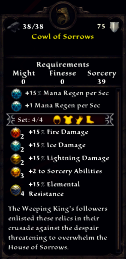 Cowl of Sorrows Inventory