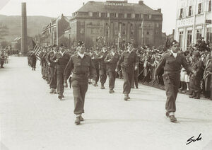 Major William Colby & the Norwegian Special Operations Group parading in Trondheim (1945)