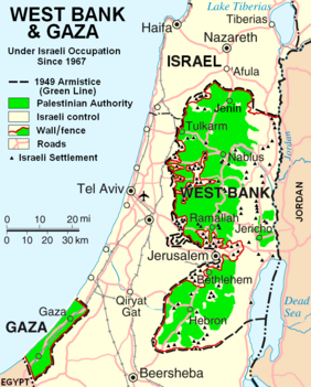 West Bank & Gaza Map 2007 (Settlements)