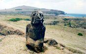Kneeled moai Easter Island