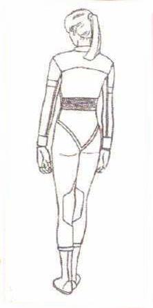 File:BIOHAZARD 1.5 concept artwork - Elza Walker final standard outfit design line art 1 back.png
