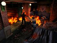 Resident Evil 3 Nemesis screenshot - Uptown - Street along apartment building - Jill Valentine gameplay 01