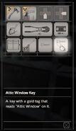 Resident Evil 7 Teaser Beginning Hour Attic Window Key inventory