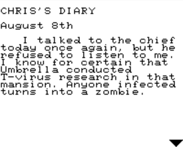 File:Resident Evil 2 Game.com file - CHRIS'S DIARY - page 1.png