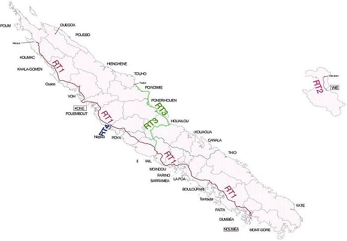Carte des routes territoriales de la Nouvelle-Calédonie. © DITTT