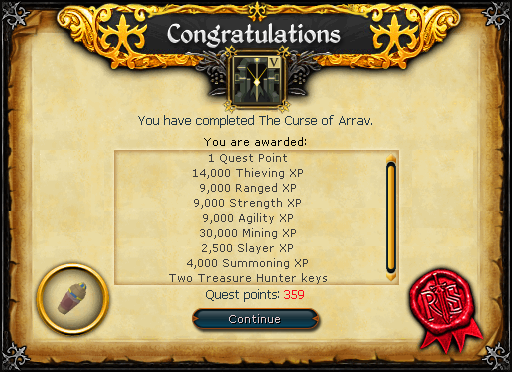 The Curse of Arrav reward