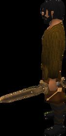 Off-hand bronze longsword equipped