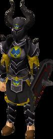 Black heraldic armour set 3 (sk) equipped