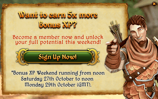 5x Bonus XP Login pop-up on F2P
