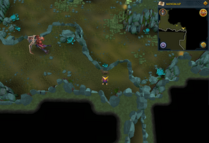 Scan clue Brimhaven Dungeon upper level south-east of greater demon area