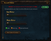 Muted Account Status message