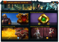 Upgrades & Extras (Overview) interface