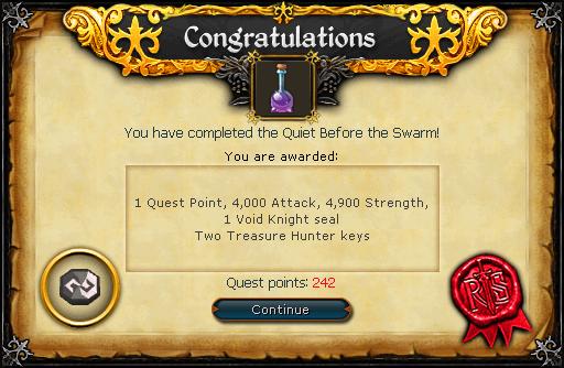 Quiet before the Swarm reward