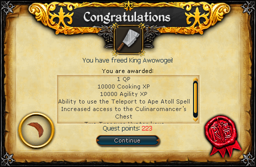 Recipe for Disaster (Freeing King Awowogei) reward
