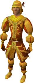 Golden mining suit equipped