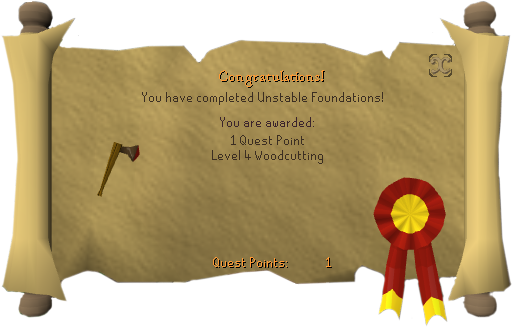 Unstable Foundations (woodcutting) reward