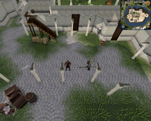 Compass clue Falador centre of White Knight's Castle courtyard