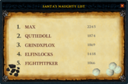 Santa's Naughty List interface