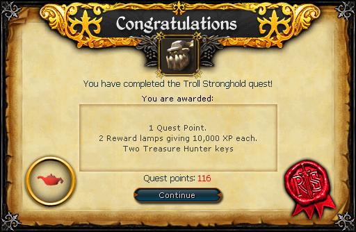 Troll Stronghold reward