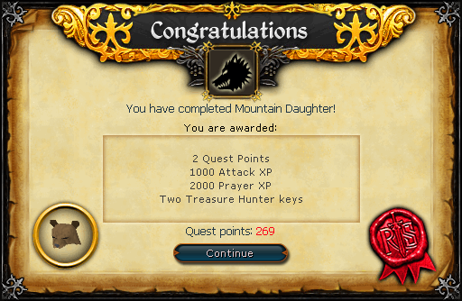 Mountain Daughter reward