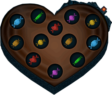 Box of Valentine chocolates interface