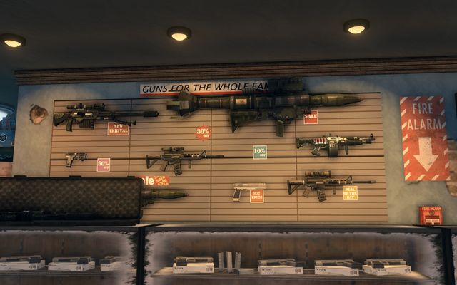 File:Friendly Fire - interior view of weapons on back wall in Saints Row The Third.png