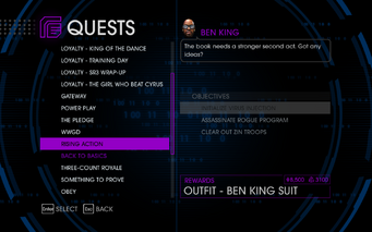Quests Menu - Rising Action