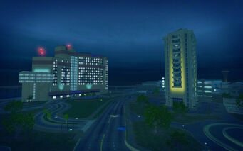 Huntersfield in Saints Row 2 - Hapton Hotel at night