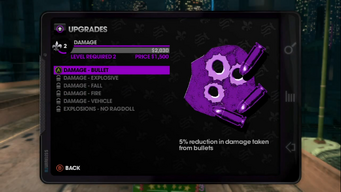 Damage Upgrades menu in Saints Row The Third