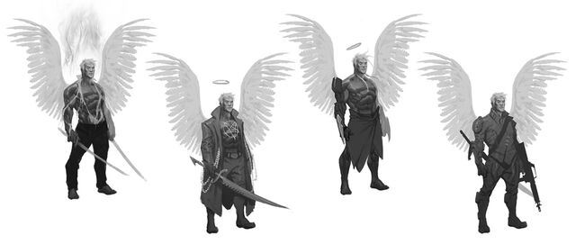 File:Johnny Gat Concept Art - Gat out of Hell Demonic look - four versions with wings.jpg