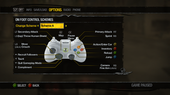 Saints Row 2 Menu - Options - Controls - On Foot Control Schemes - Scheme A