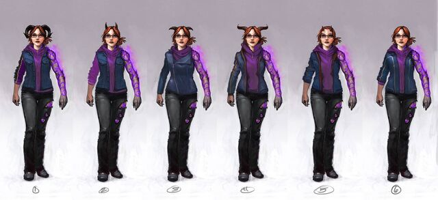 File:Kinzie Kensington Gat out of Hell Concept Art - 6 versions.jpg