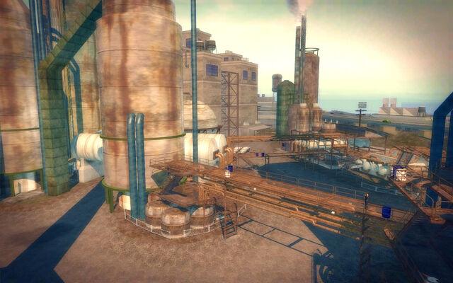 File:Pilsen in Saints Row 2 - refinery walkways.jpg
