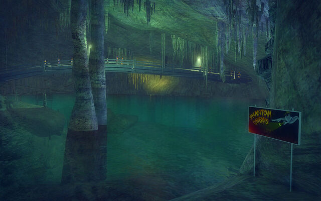 File:Stilwater Caverns - Phantom Caverns sign and bridge.jpg
