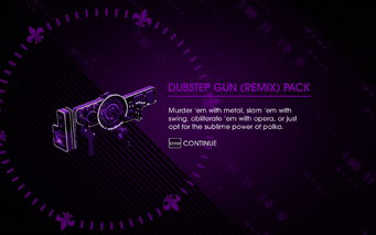 Saints Row IV - Dubstep Gun (Remix) Pack unlock screen