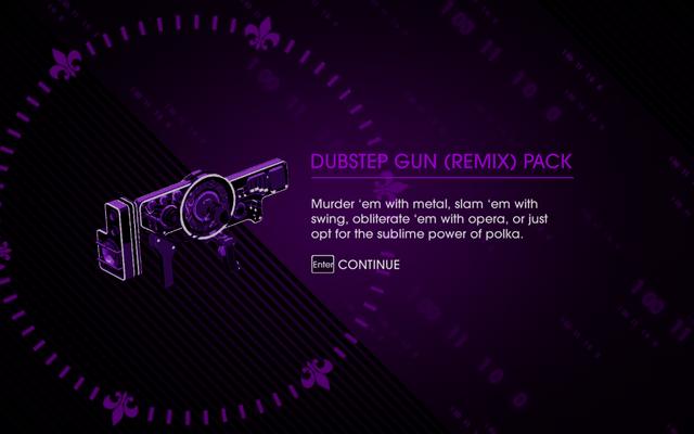 File:Saints Row IV - Dubstep Gun (Remix) Pack unlock screen.png