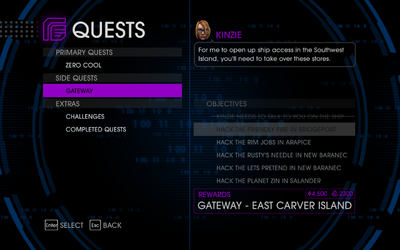 Quests Menu - Gateway