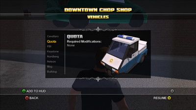 Saints Row Chop Shop - Downtown - Quota
