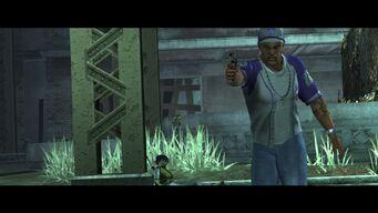 Good D - Pierce firing a pistol